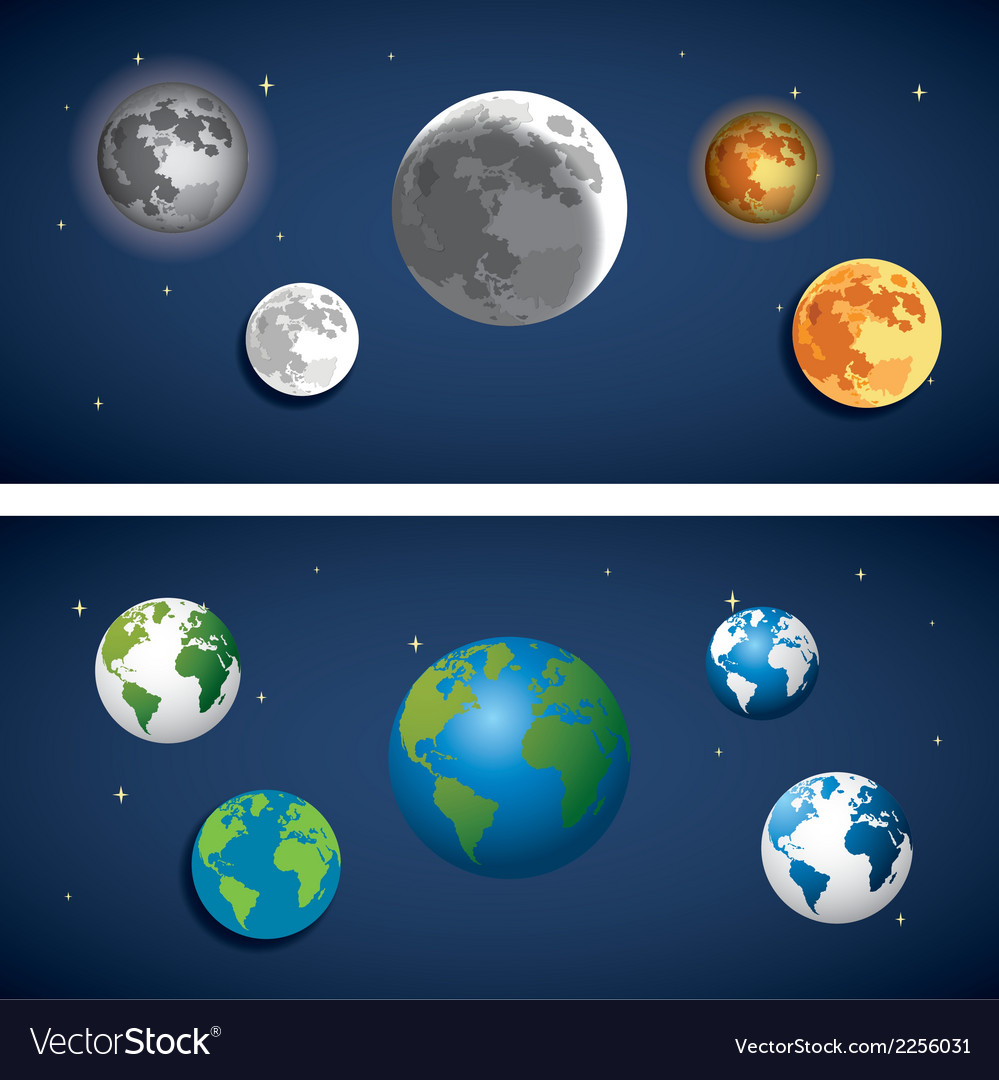 Set of globe and moon icon vector | Price: 1 Credit (USD $1)