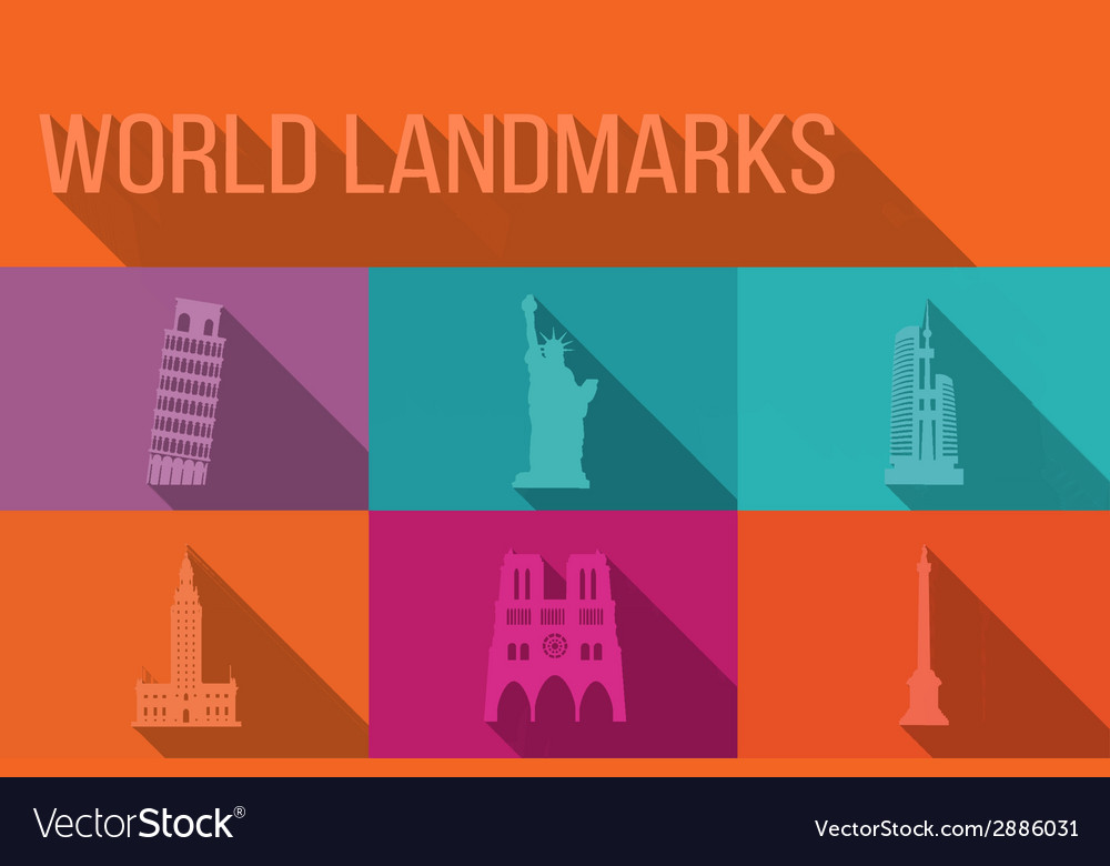 World landmarks famous buildings europe america vector | Price: 1 Credit (USD $1)