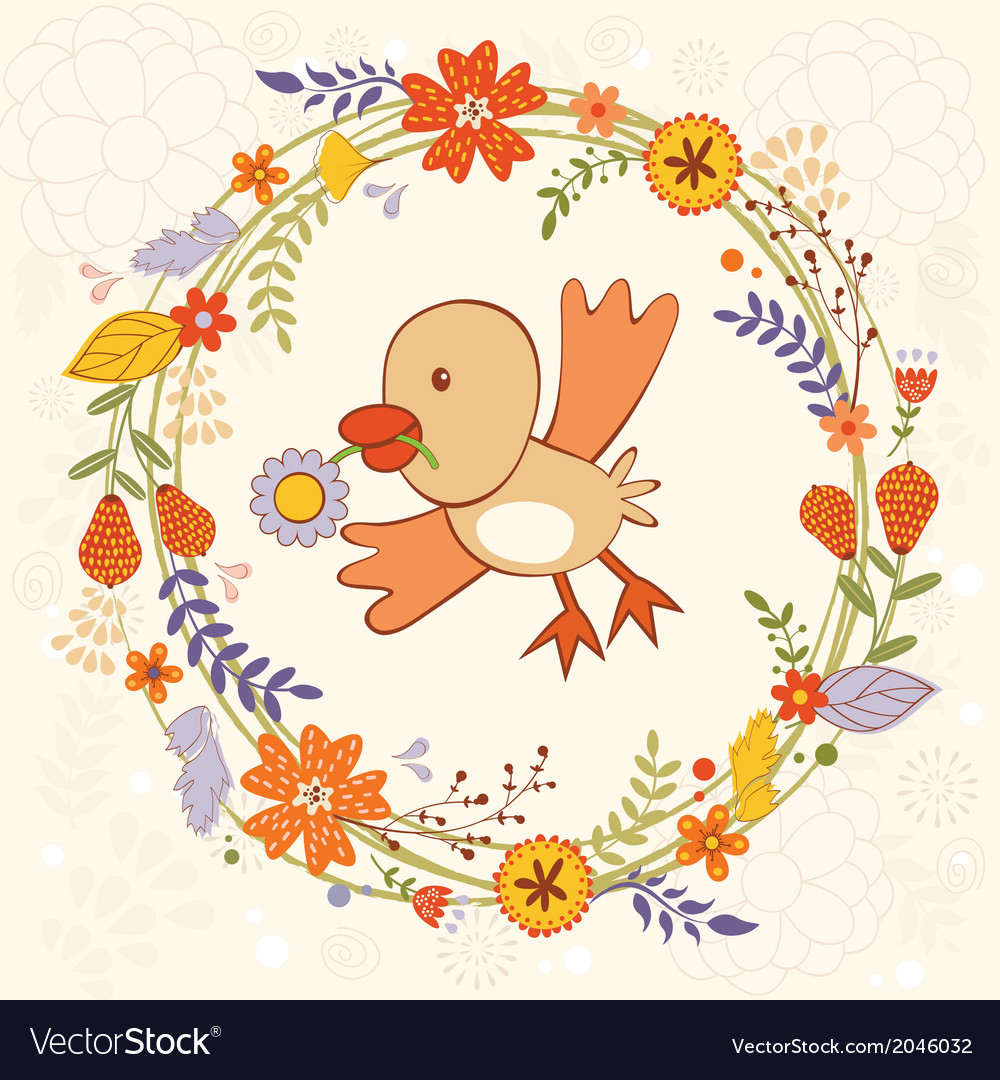 Bird in wreath vector | Price: 1 Credit (USD $1)