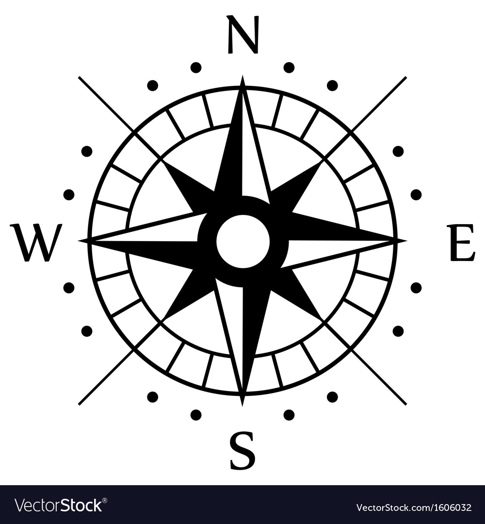 Black compass symbol vector