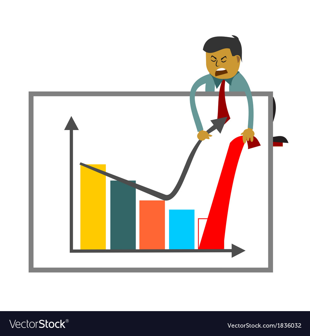 Businessman trying to increase sales figures vector | Price: 1 Credit (USD $1)