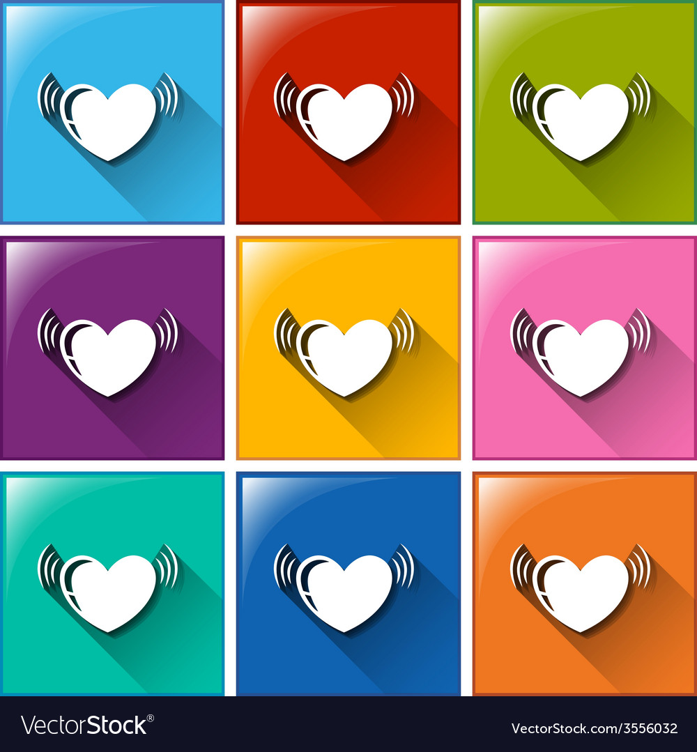 Buttons with hearts vector | Price: 1 Credit (USD $1)