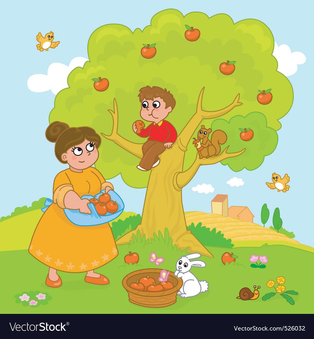 Cartoon apple tree vector | Price: 3 Credit (USD $3)