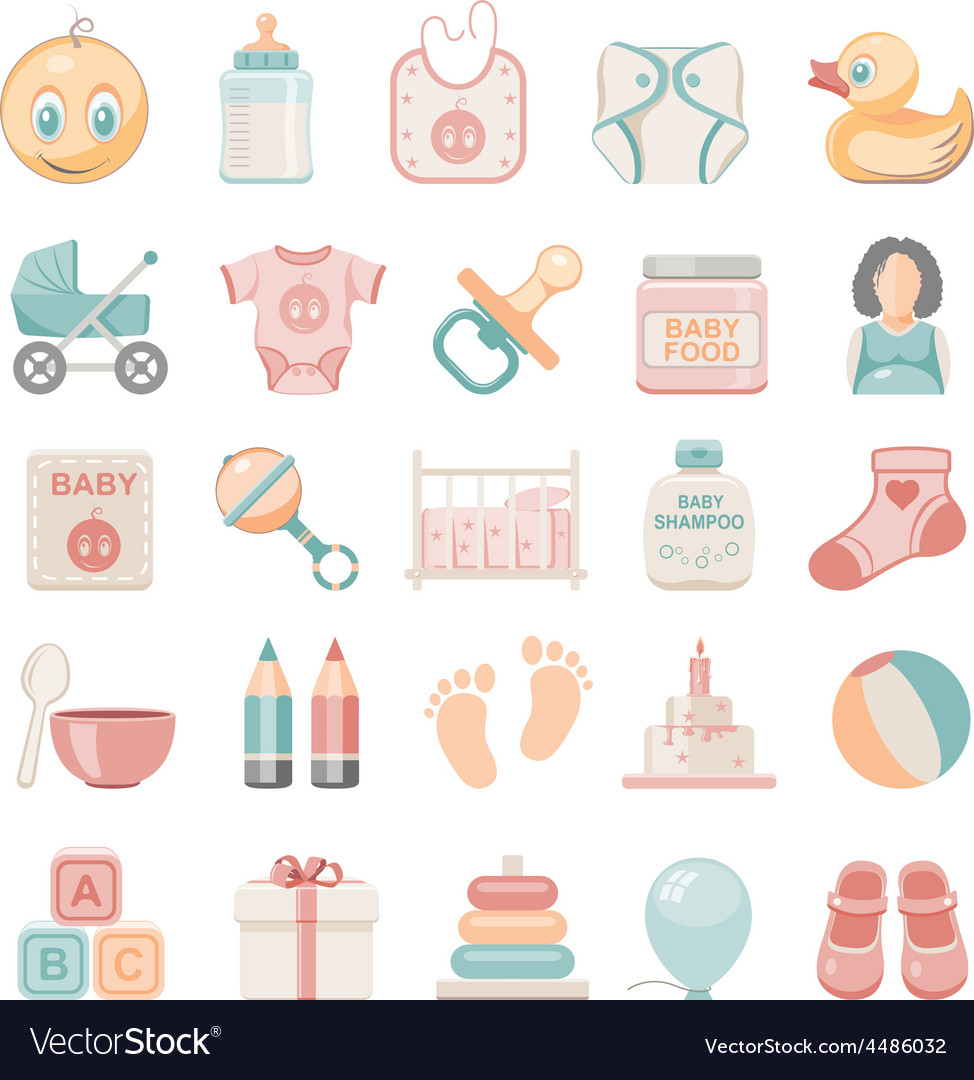Flat icons baby vector | Price: 1 Credit (USD $1)