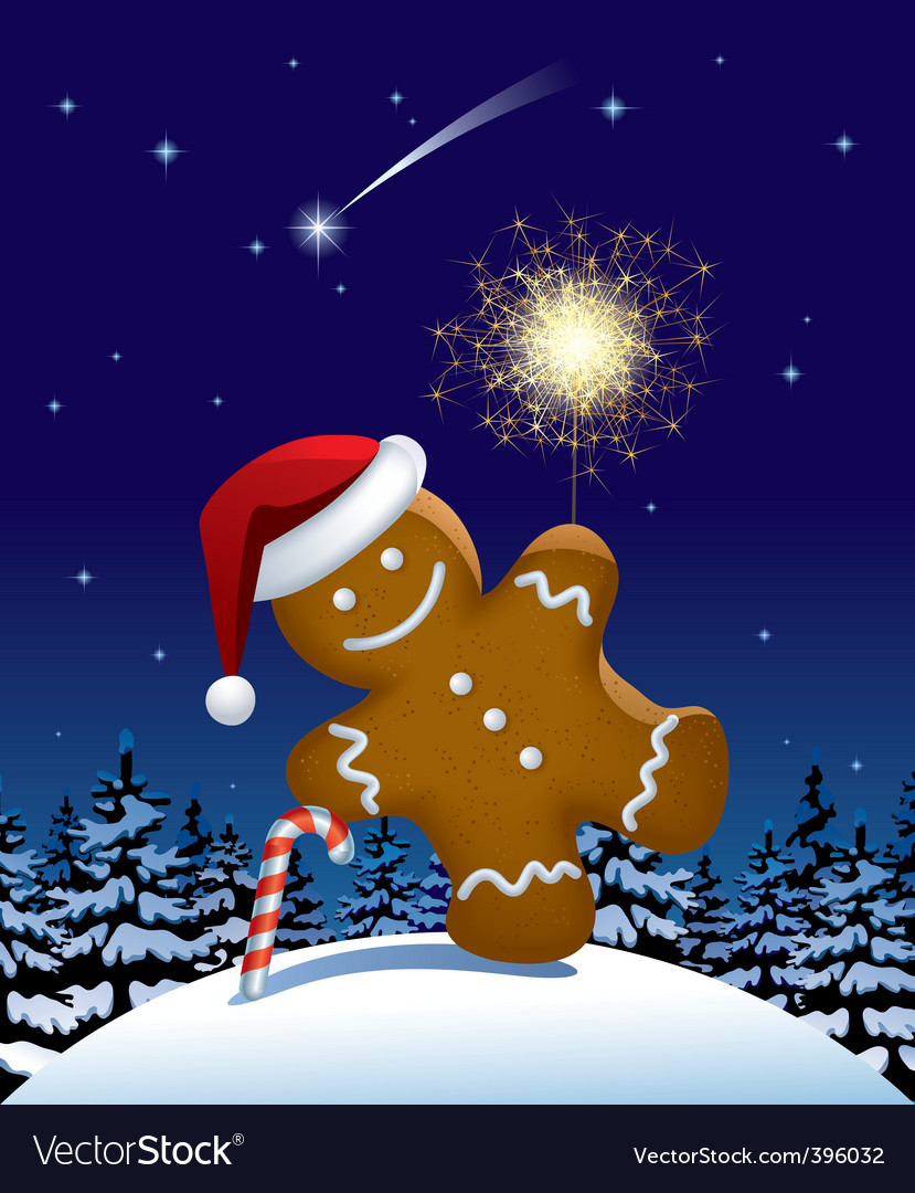 Gingerbread man wish a sparkler vector | Price: 1 Credit (USD $1)