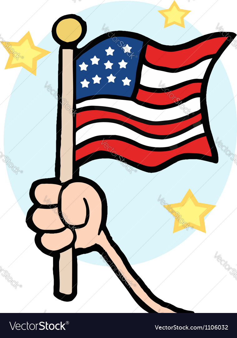Hand waving an american flag vector | Price: 1 Credit (USD $1)