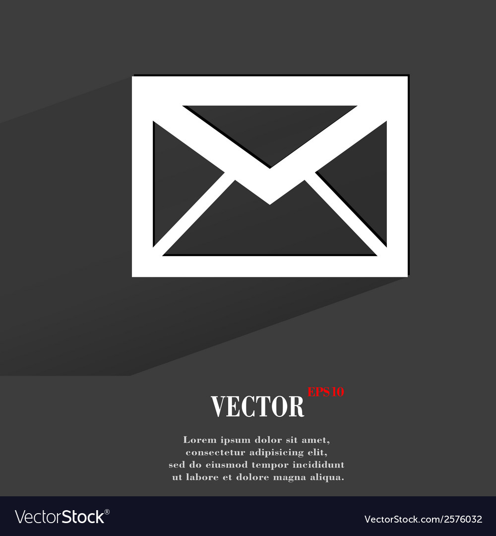 Mail envelope flat modern web button with long vector | Price: 1 Credit (USD $1)
