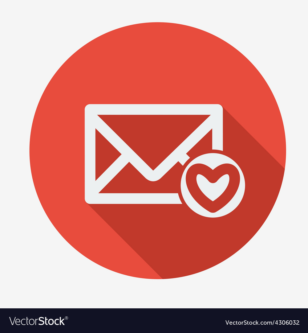 Mail icon envelope with heart flat design vector | Price: 1 Credit (USD $1)