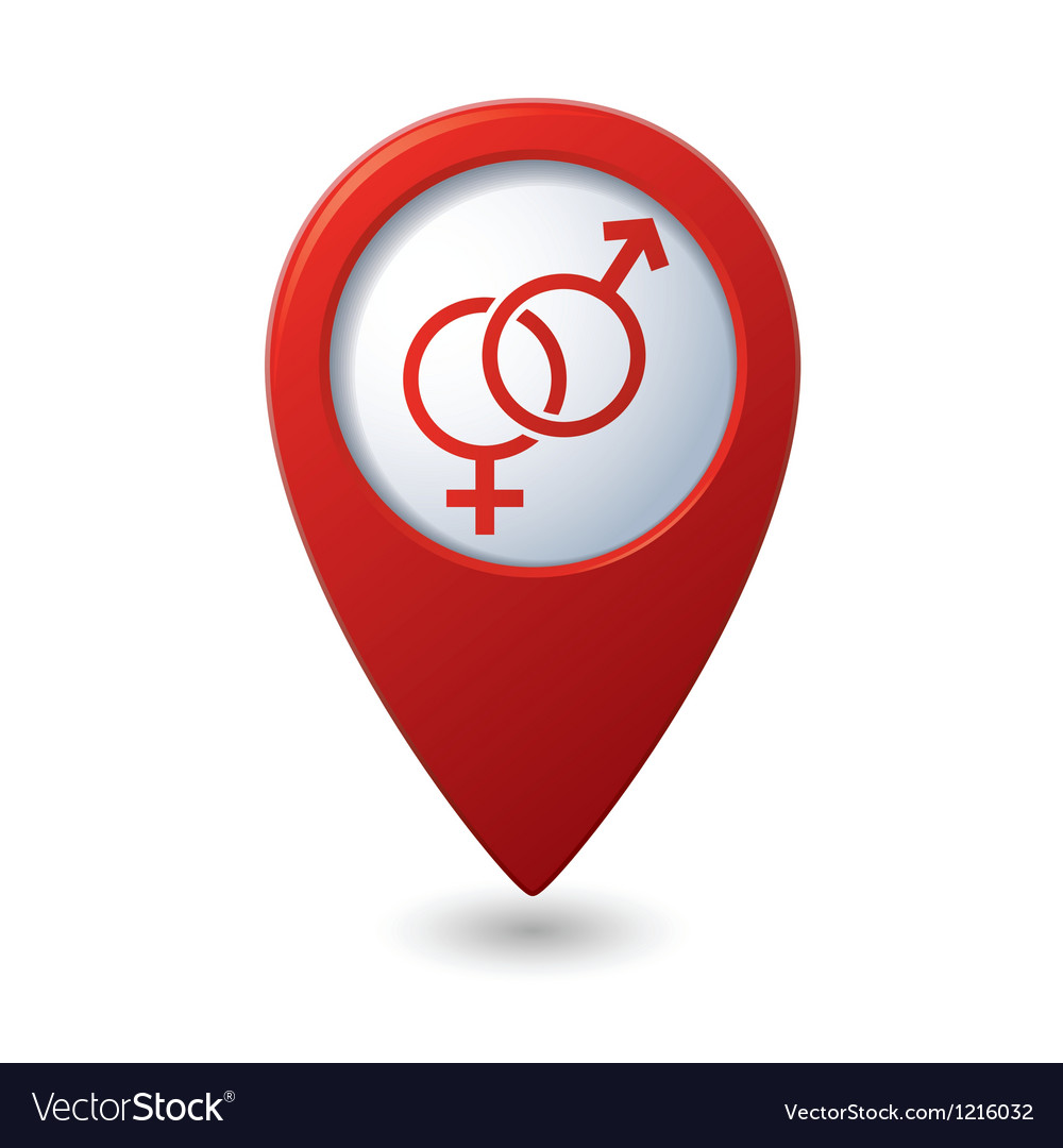 Map pointer button with male female symbol vector | Price: 1 Credit (USD $1)