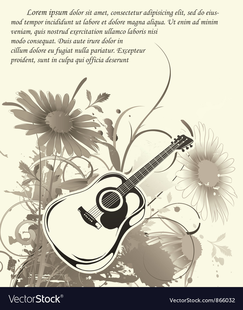 Music wallpaper with guitar vector | Price: 1 Credit (USD $1)