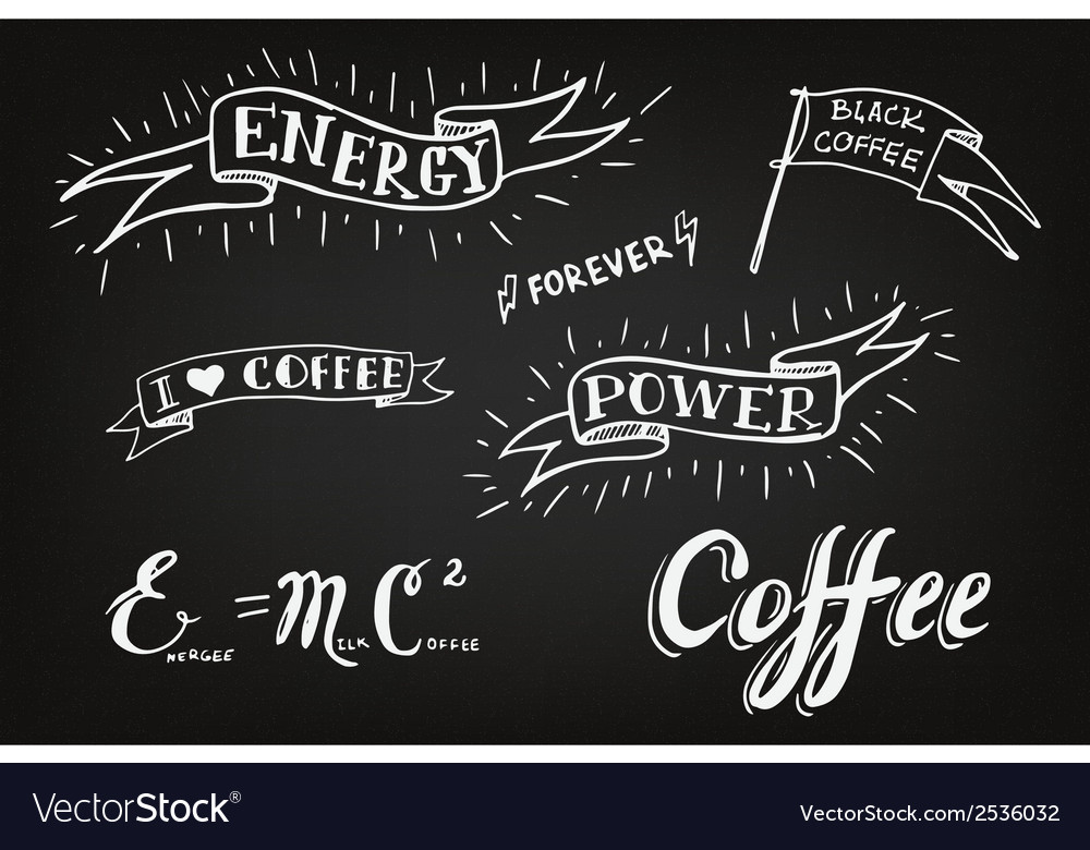 Set of hand drawn coffee theme elements vector | Price: 1 Credit (USD $1)