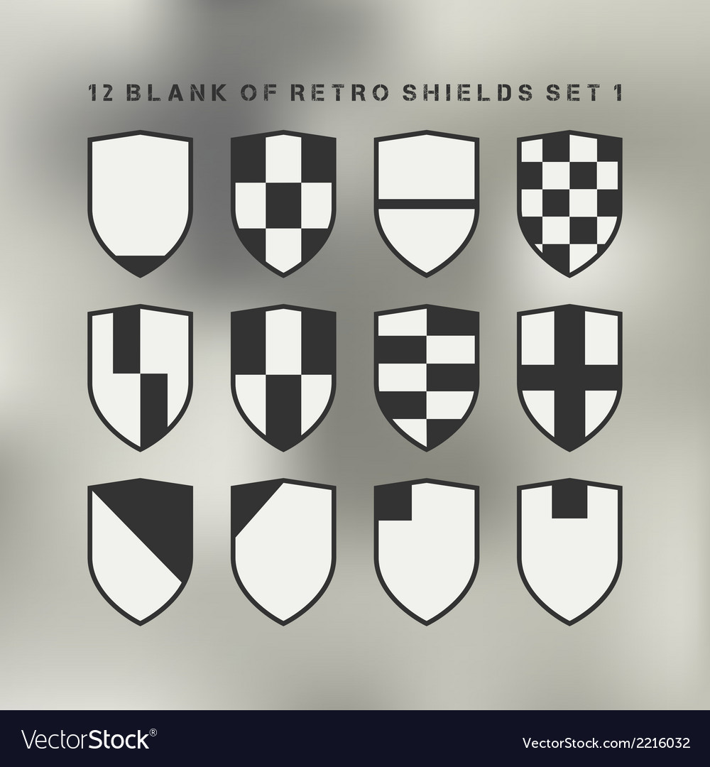 Set of shields black and white vector | Price: 1 Credit (USD $1)