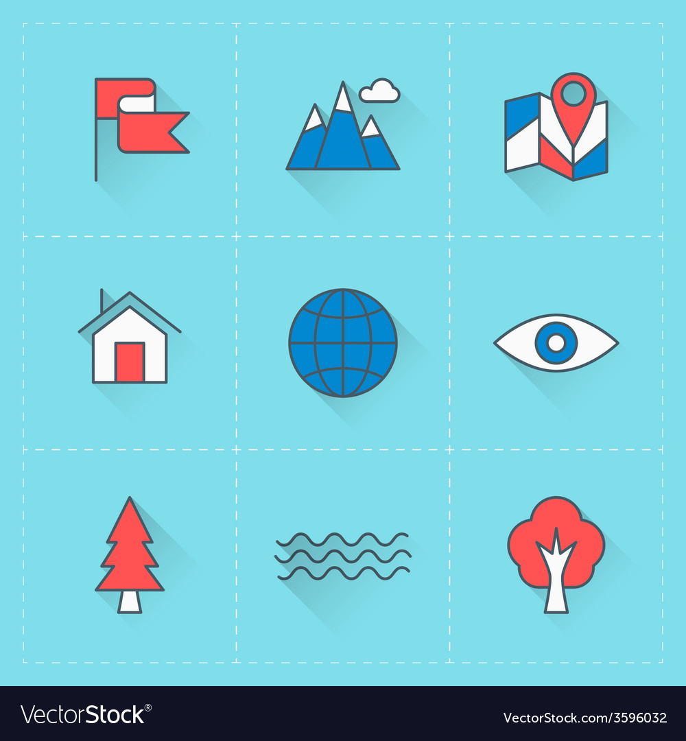 Travel icons icon set in flat design style for web vector | Price: 1 Credit (USD $1)