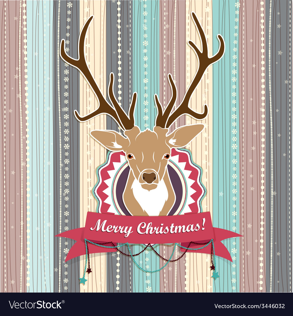 Vintage christmas card with deer cold pastel vector | Price: 1 Credit (USD $1)