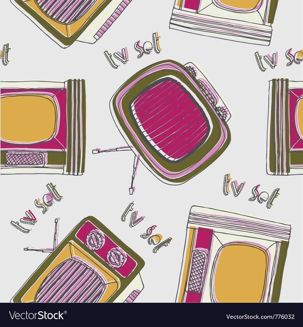 Vintage tv drawing wallpaper vector   Price: 1 Credit (USD $1)