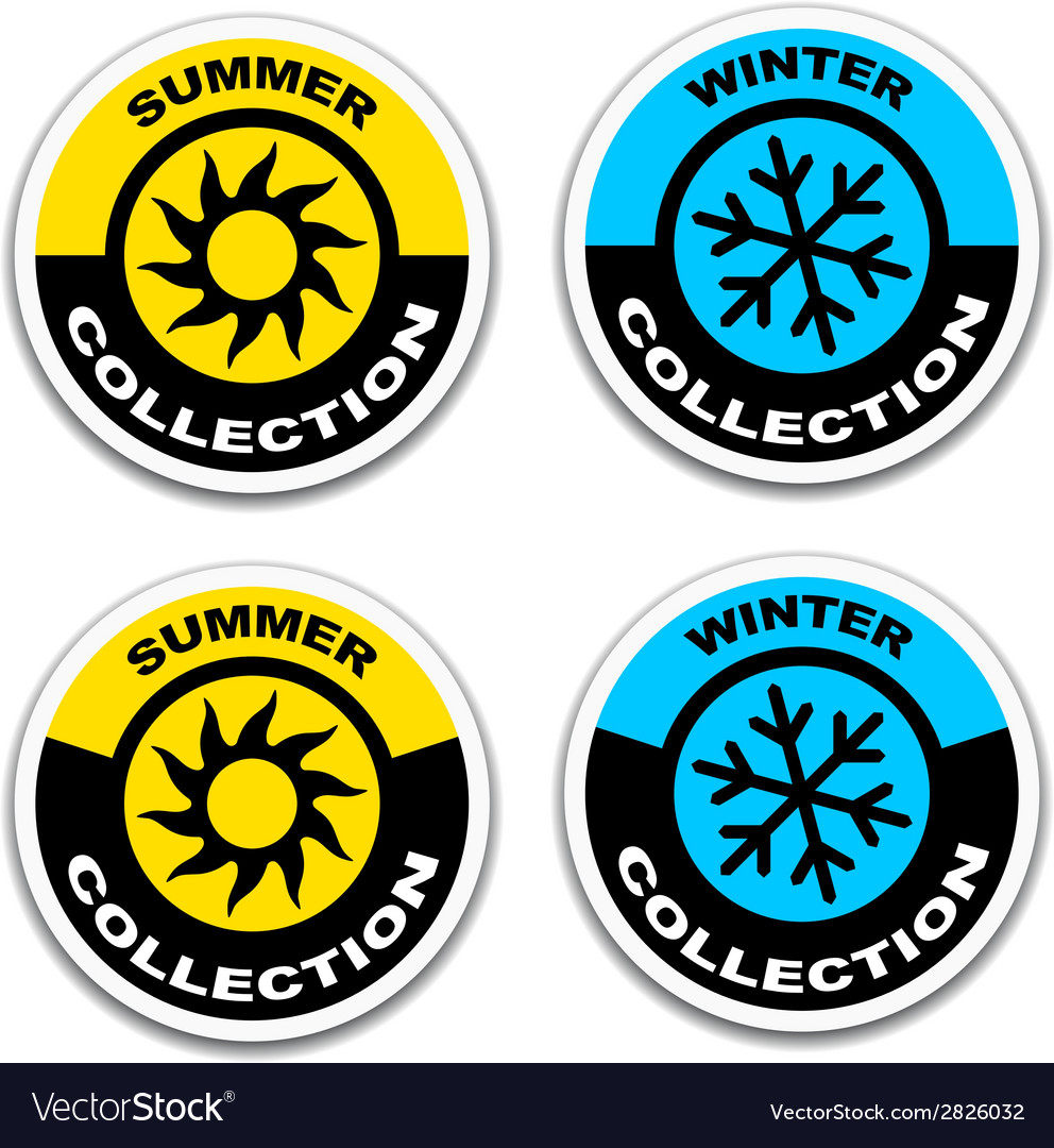 Winter and summer collection stickers vector | Price: 1 Credit (USD $1)