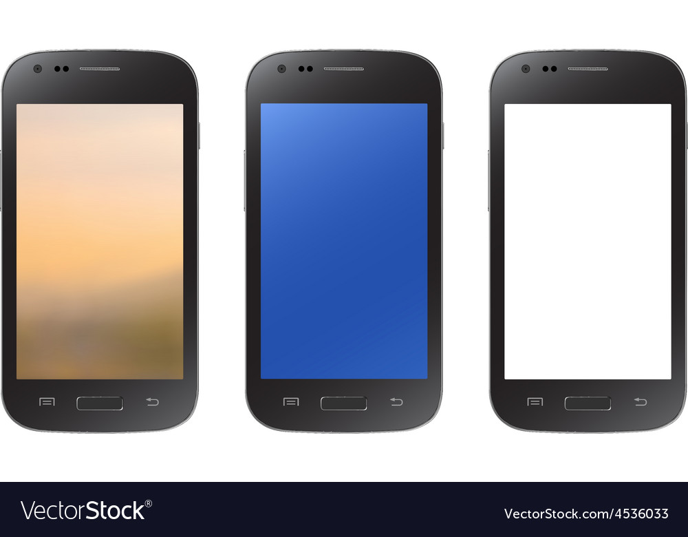 Black smartphone collection isolated on white vector | Price: 1 Credit (USD $1)