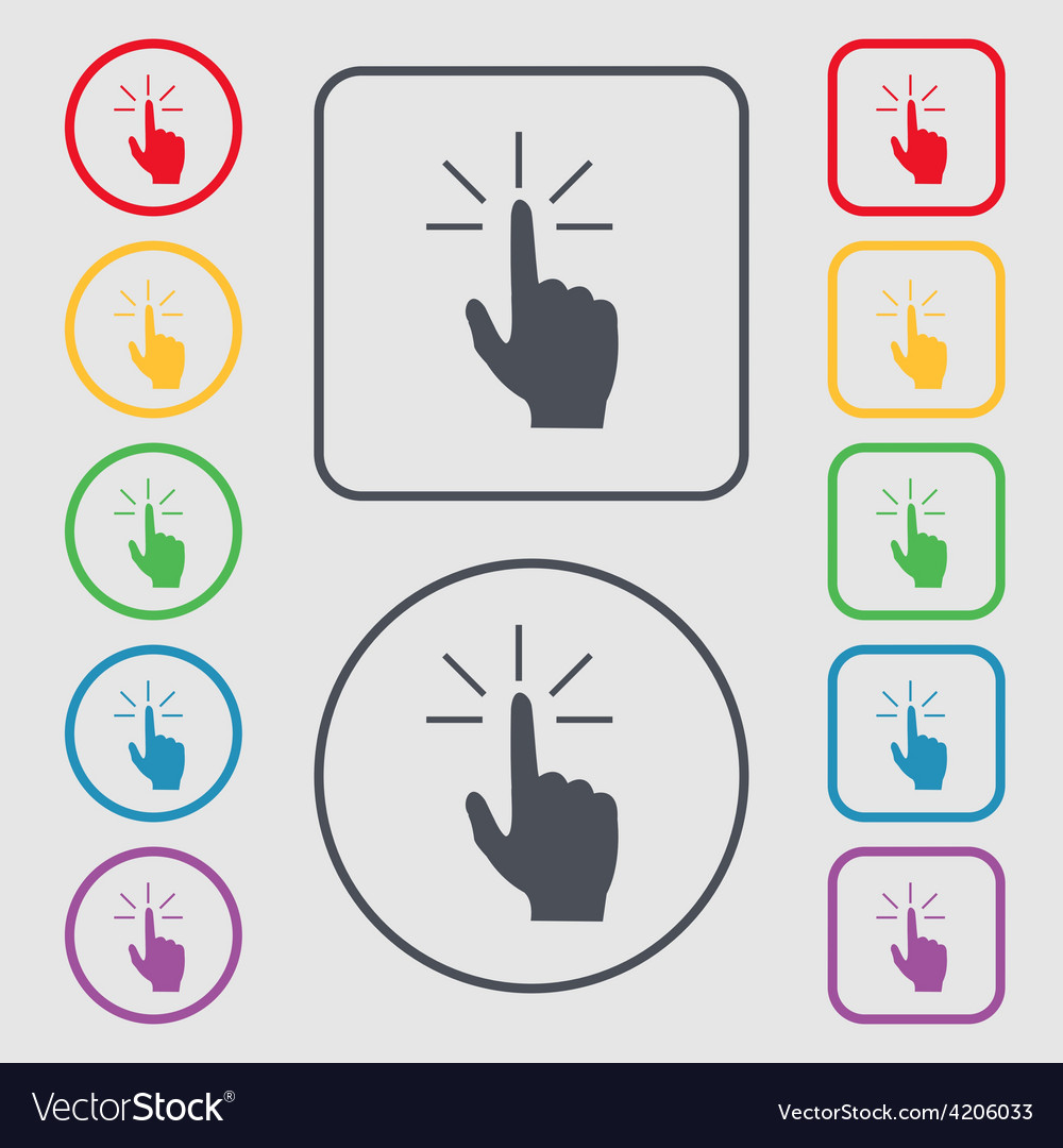 Click here hand icon sign symbol on the round and vector | Price: 1 Credit (USD $1)