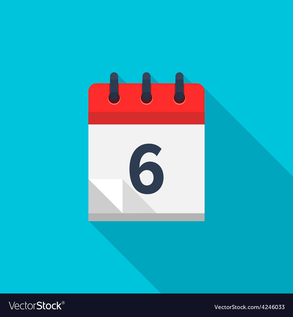 Flat calendar icon date and time background vector | Price: 1 Credit (USD $1)