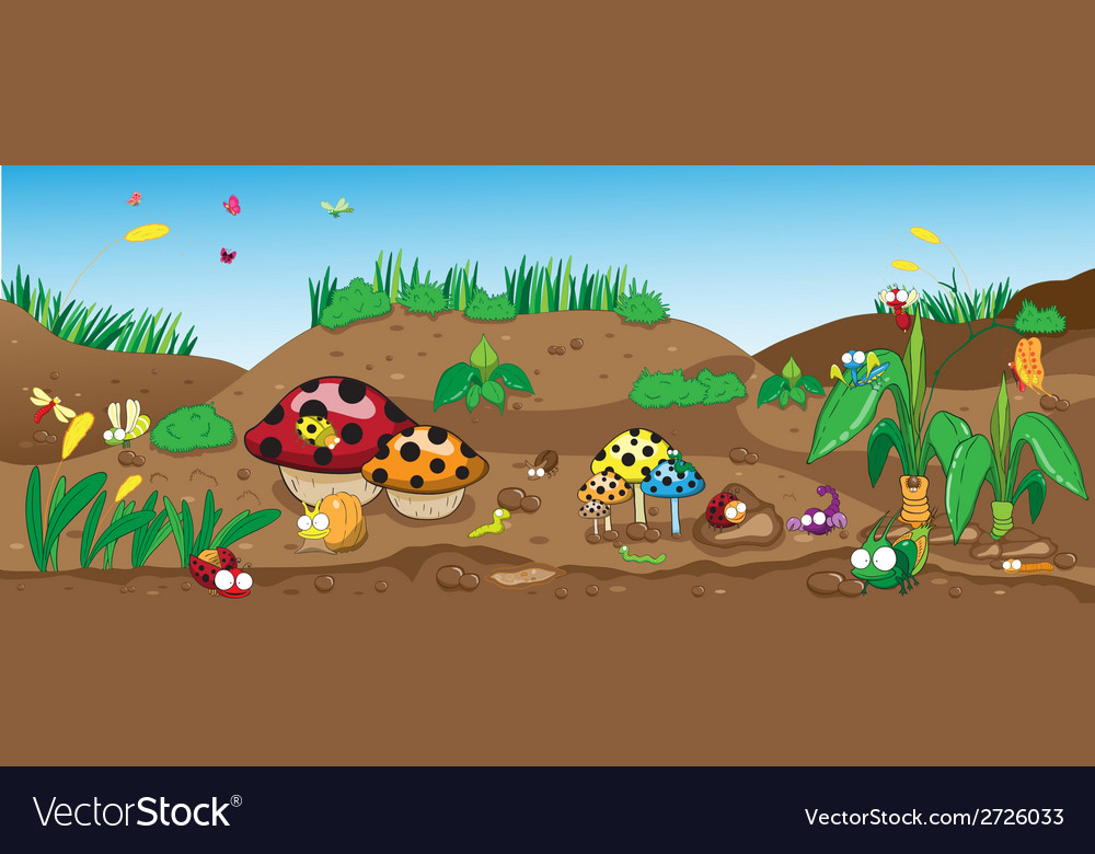 Insects on the ground among the flowers and plants vector | Price: 1 Credit (USD $1)