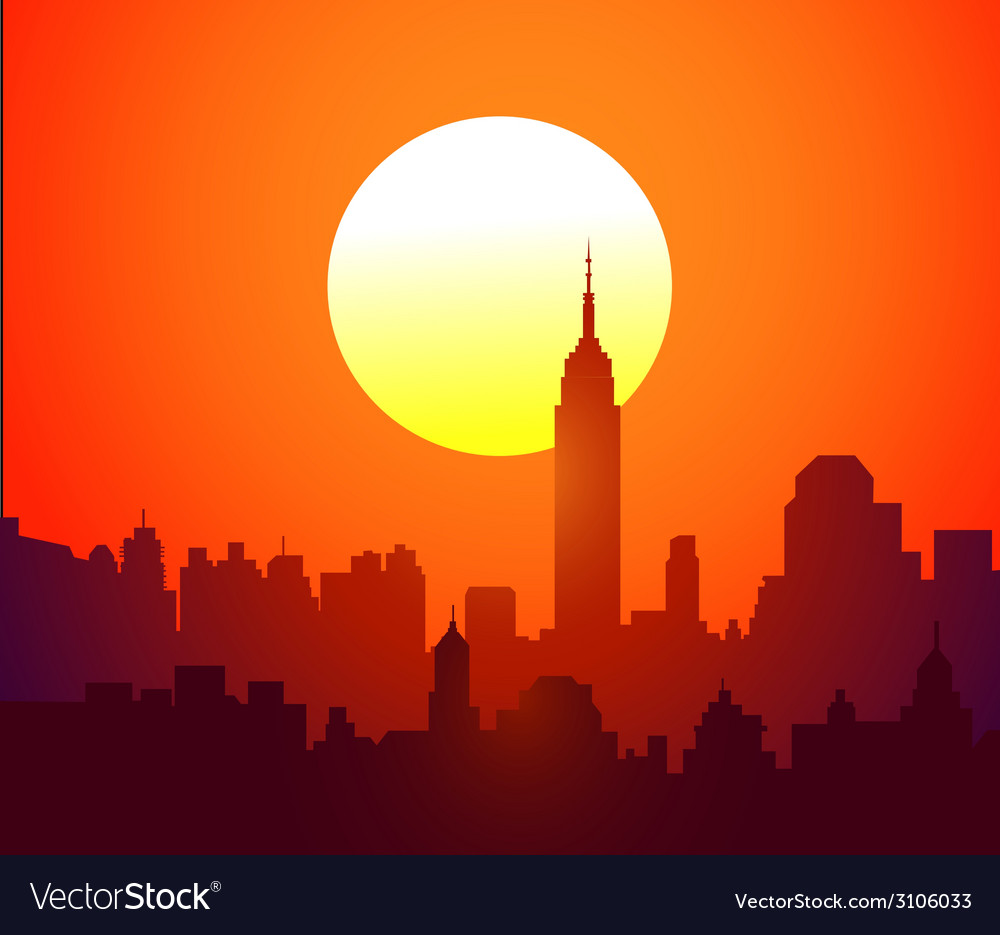 New york skyline and sunset- vector | Price: 1 Credit (USD $1)