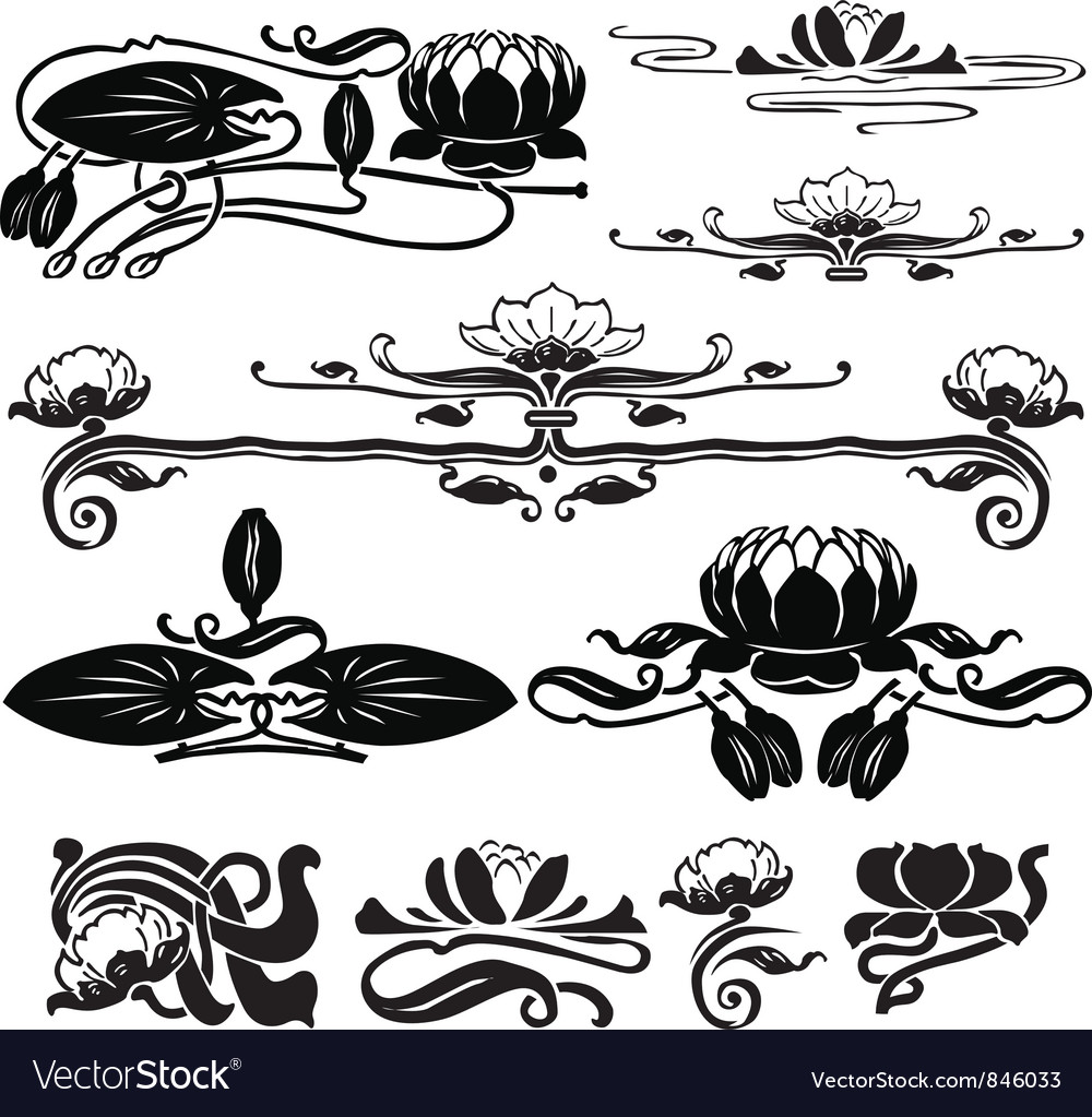 Pattern with a water lily vector | Price: 1 Credit (USD $1)