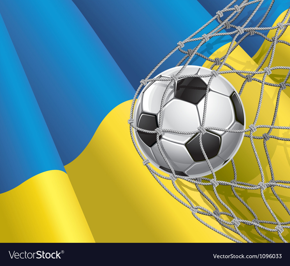 Soccer goal and ukraine flag vector | Price: 1 Credit (USD $1)