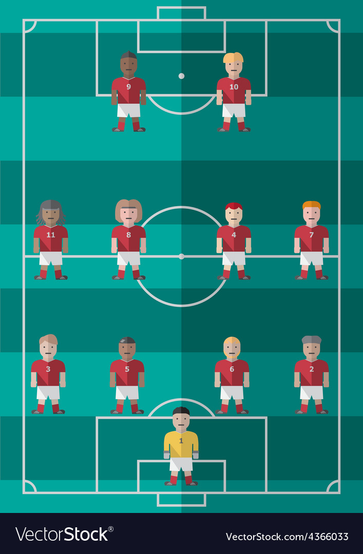 Soccer strategy formation 4 4 2 flat graphic vector