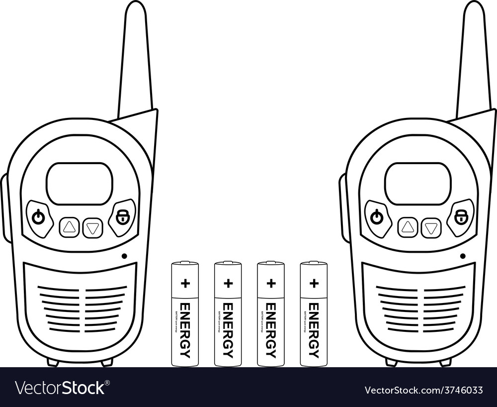 Travel radio set devices wit batteries contour vector | Price: 1 Credit (USD $1)
