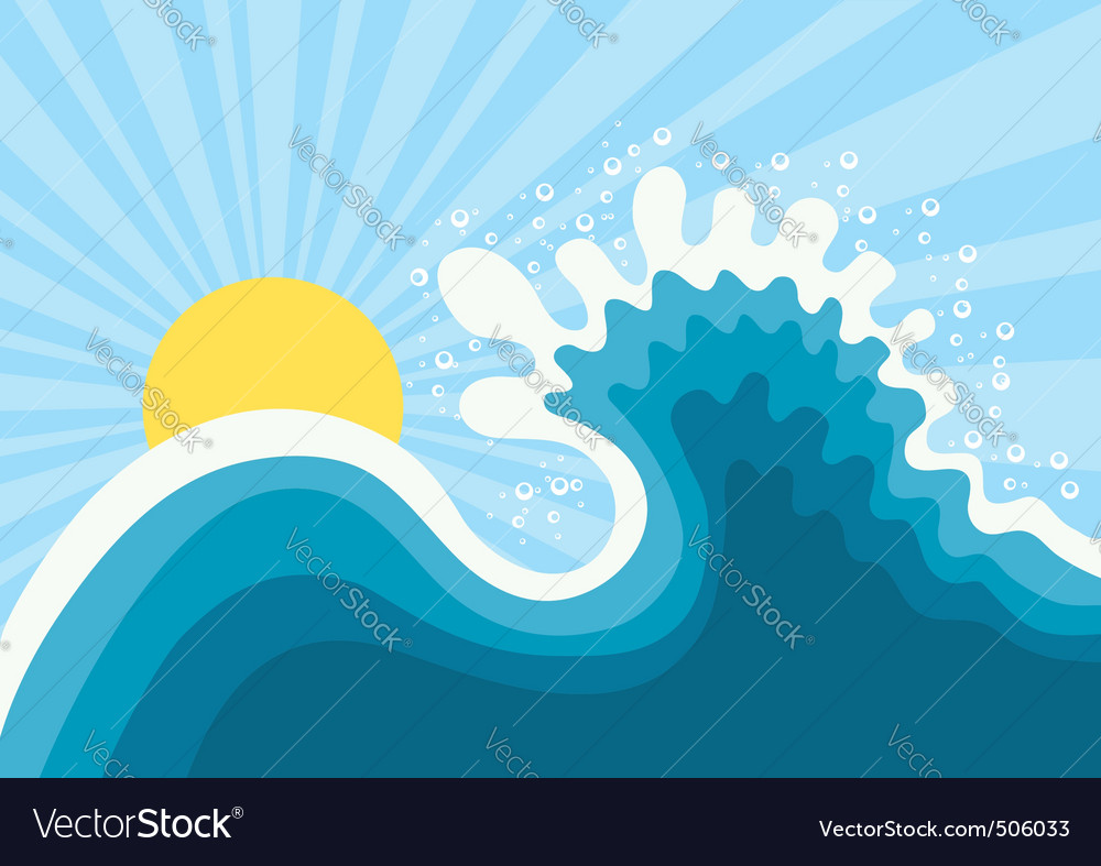 Wave in oceanwater nature background with sun vector | Price: 1 Credit (USD $1)