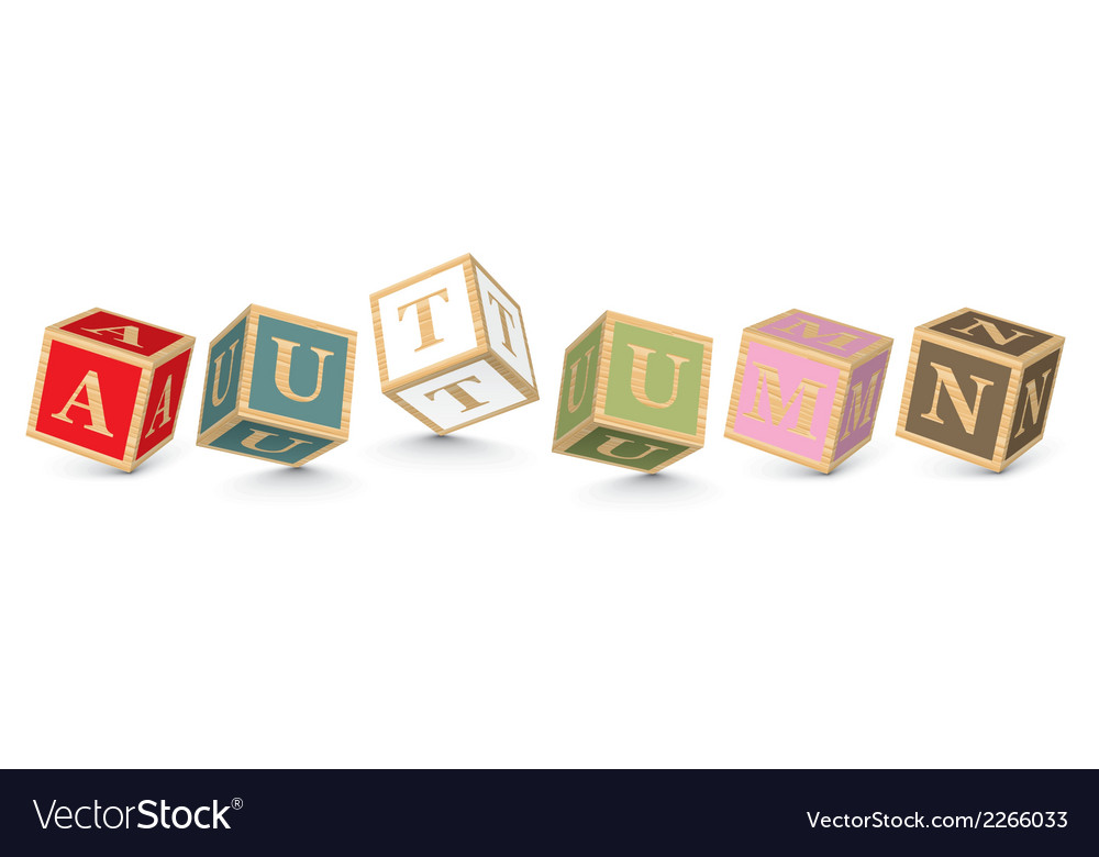 Word autumn written with alphabet blocks vector | Price: 1 Credit (USD $1)