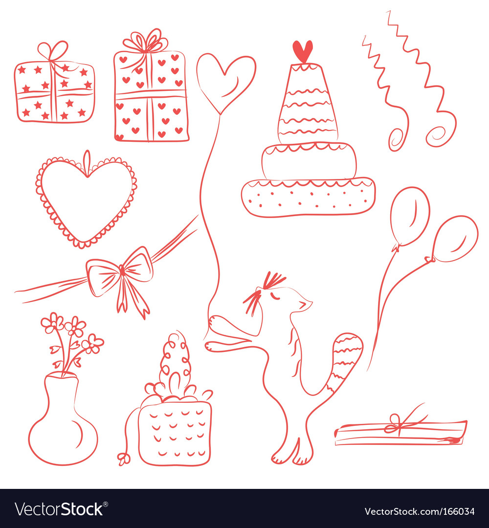 Birthday holiday doodle red set vector | Price: 1 Credit (USD $1)