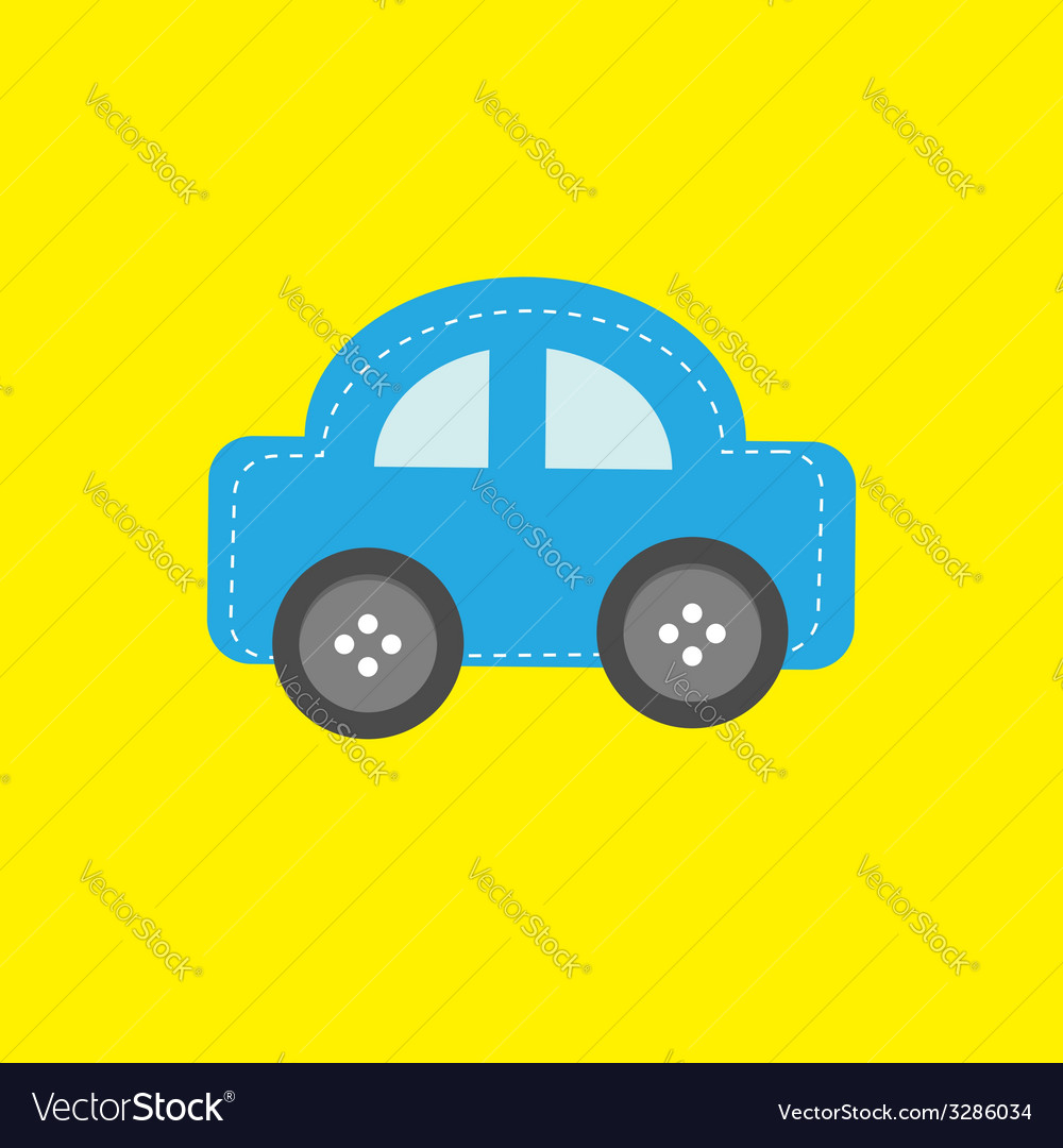 Blue car applique with dash line thred and wheel vector | Price: 1 Credit (USD $1)