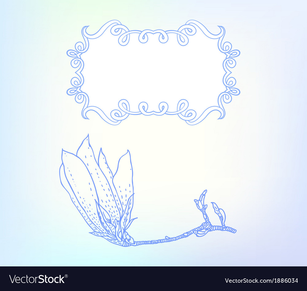 Card with magnolia on light blue vector | Price: 1 Credit (USD $1)