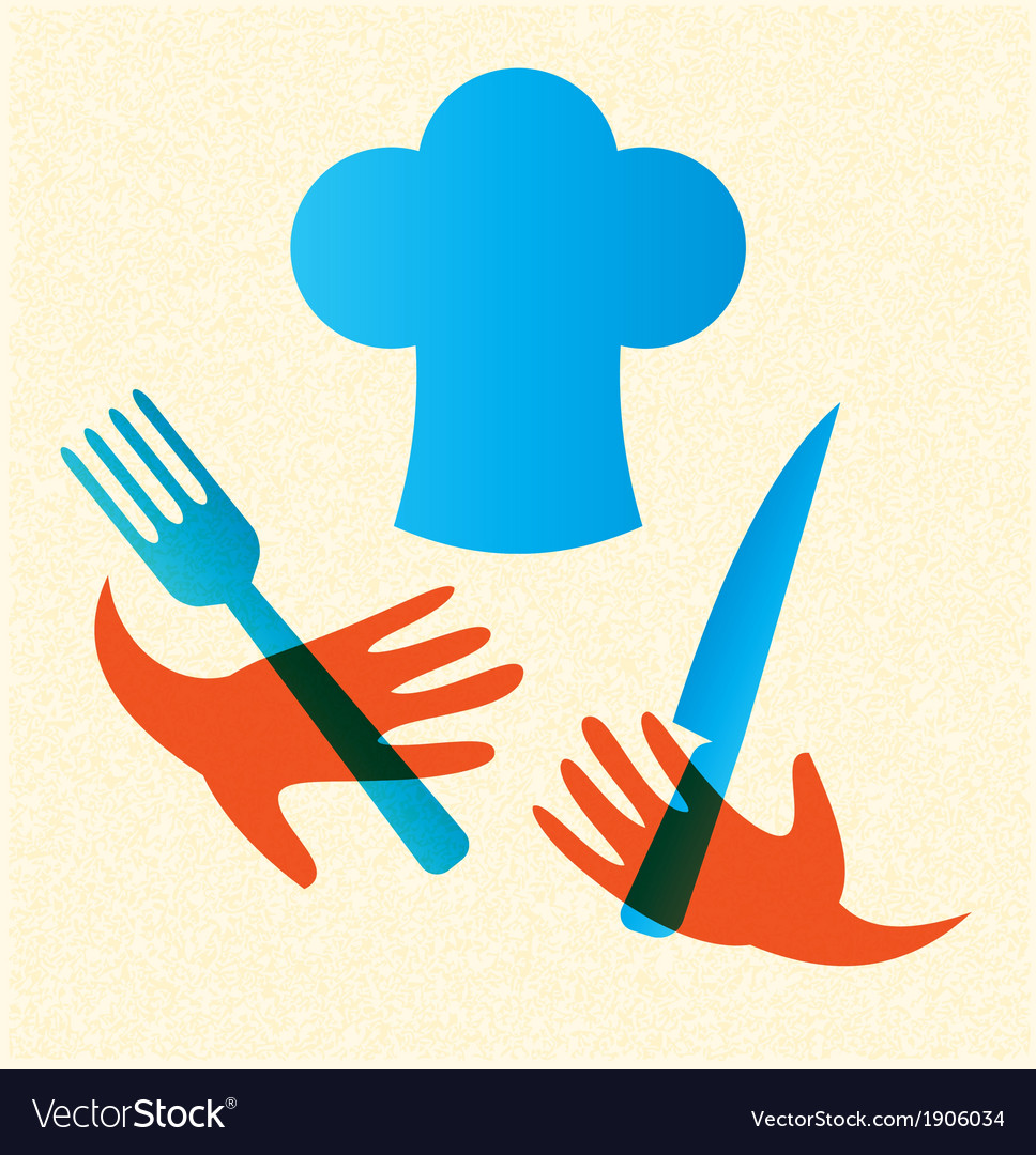Chef with knife and fork icon vector | Price: 1 Credit (USD $1)