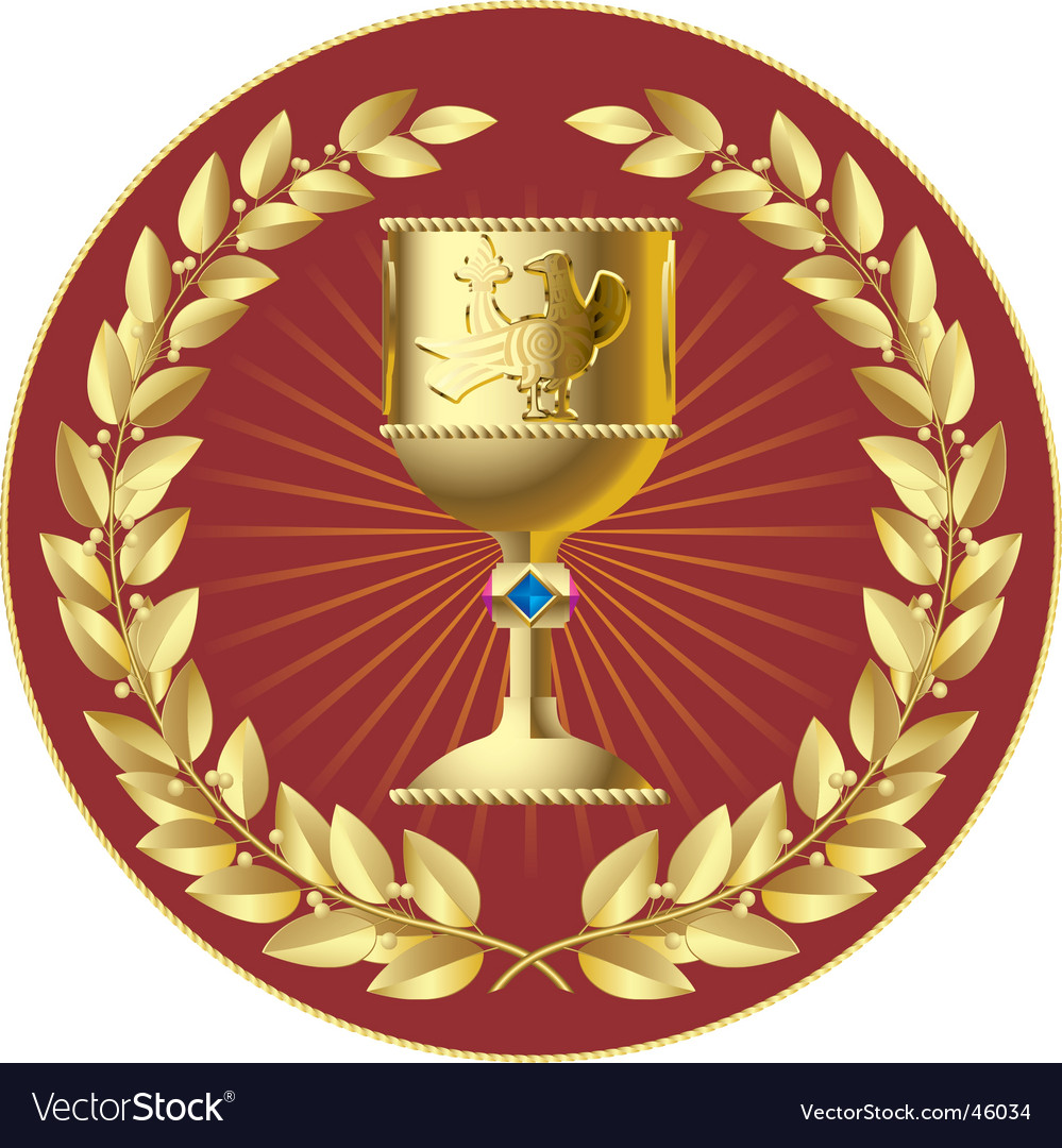 Gold laurels and gold cup vector | Price: 1 Credit (USD $1)