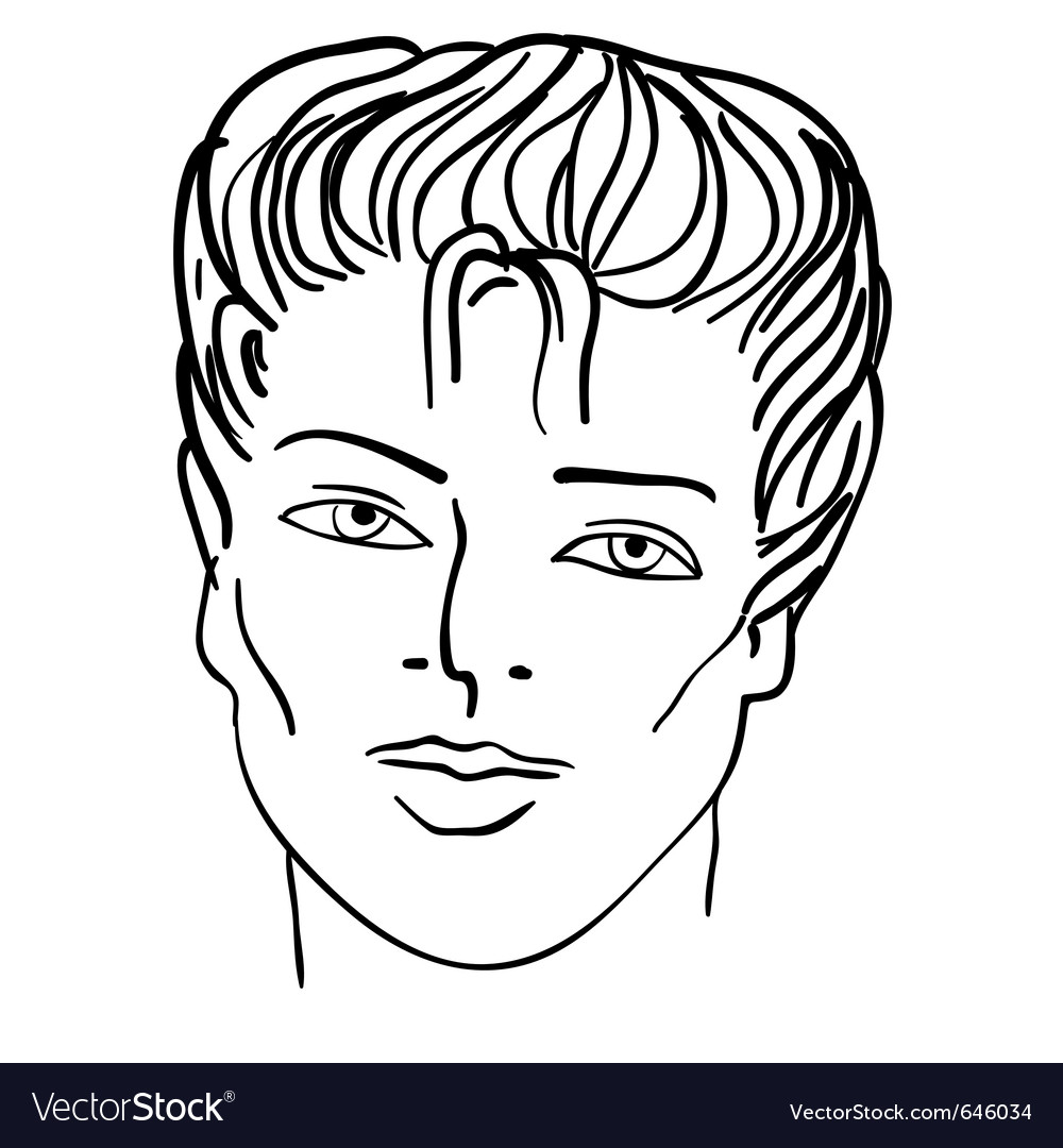 Hand-drawn fashion model man face vector | Price: 1 Credit (USD $1)