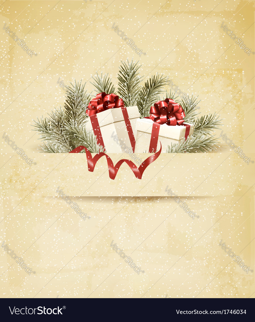 Holiday background with ribbon and red gift boxes vector | Price: 1 Credit (USD $1)