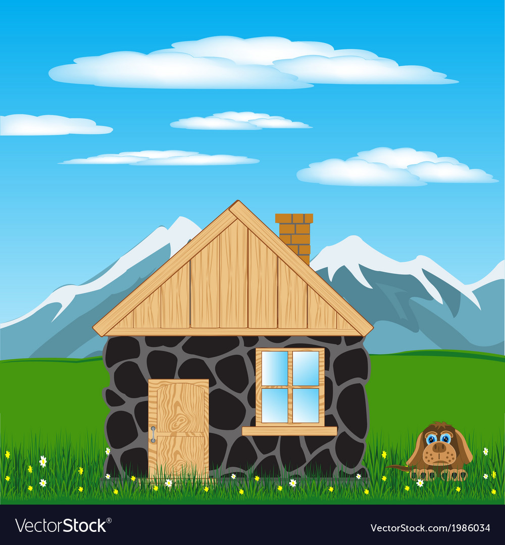 House in mountain vector | Price: 1 Credit (USD $1)
