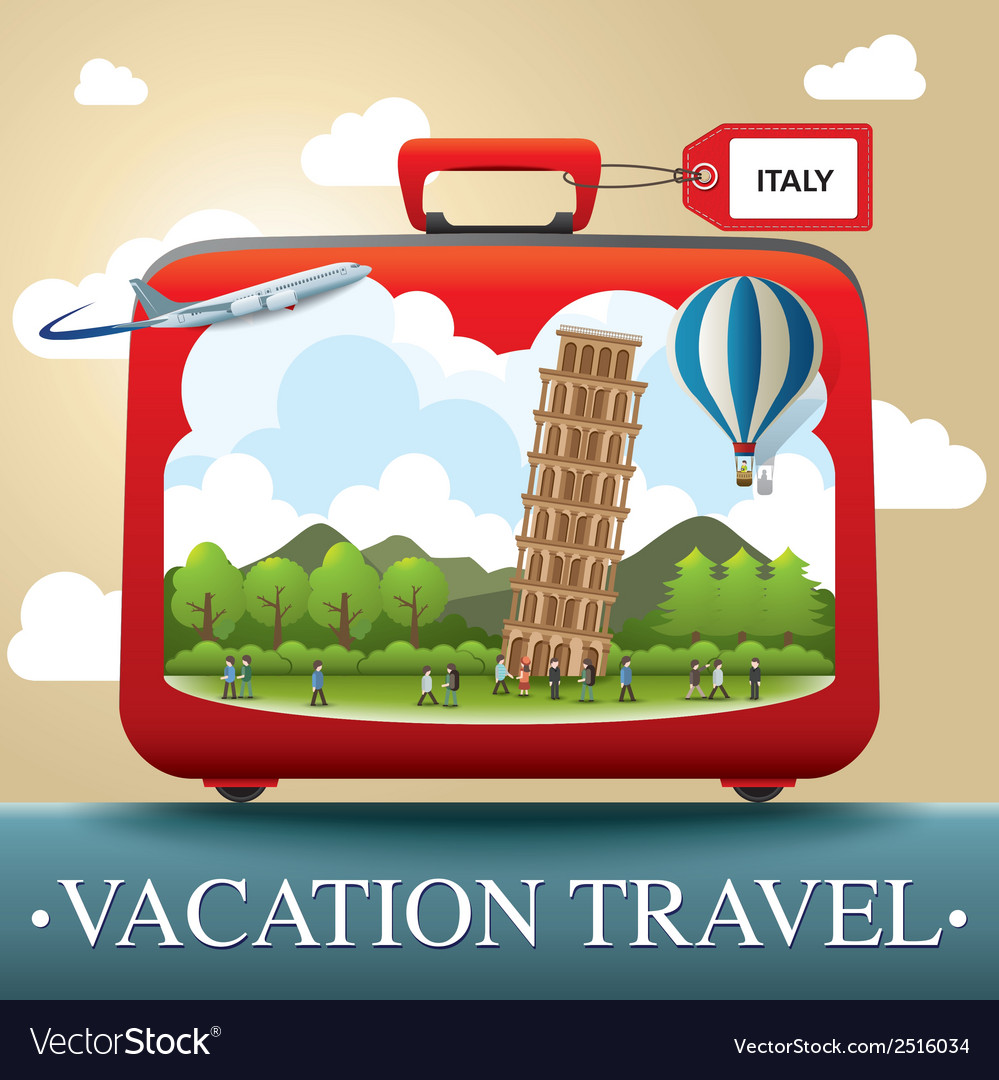 Luggage and travel vacation to italy vector | Price: 1 Credit (USD $1)