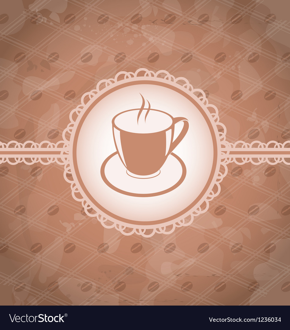 Old grunge background with coffee label - cup vector | Price: 1 Credit (USD $1)