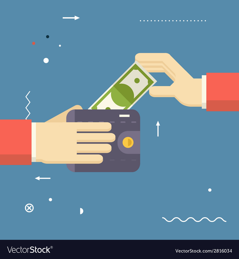 Payment symbol human hands holding banknote and vector | Price: 1 Credit (USD $1)