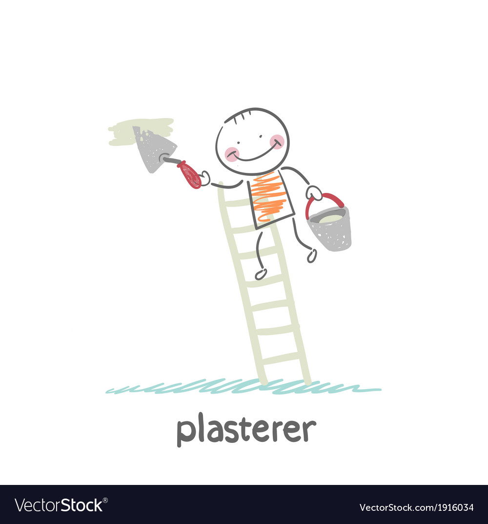 Plasterer on the stairs holding a bucket and vector | Price: 1 Credit (USD $1)