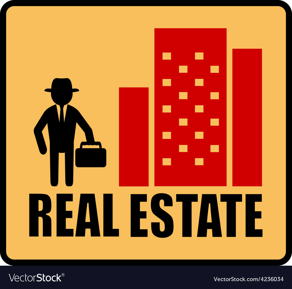 Real estate symbol with man and city vector | Price: 1 Credit (USD $1)
