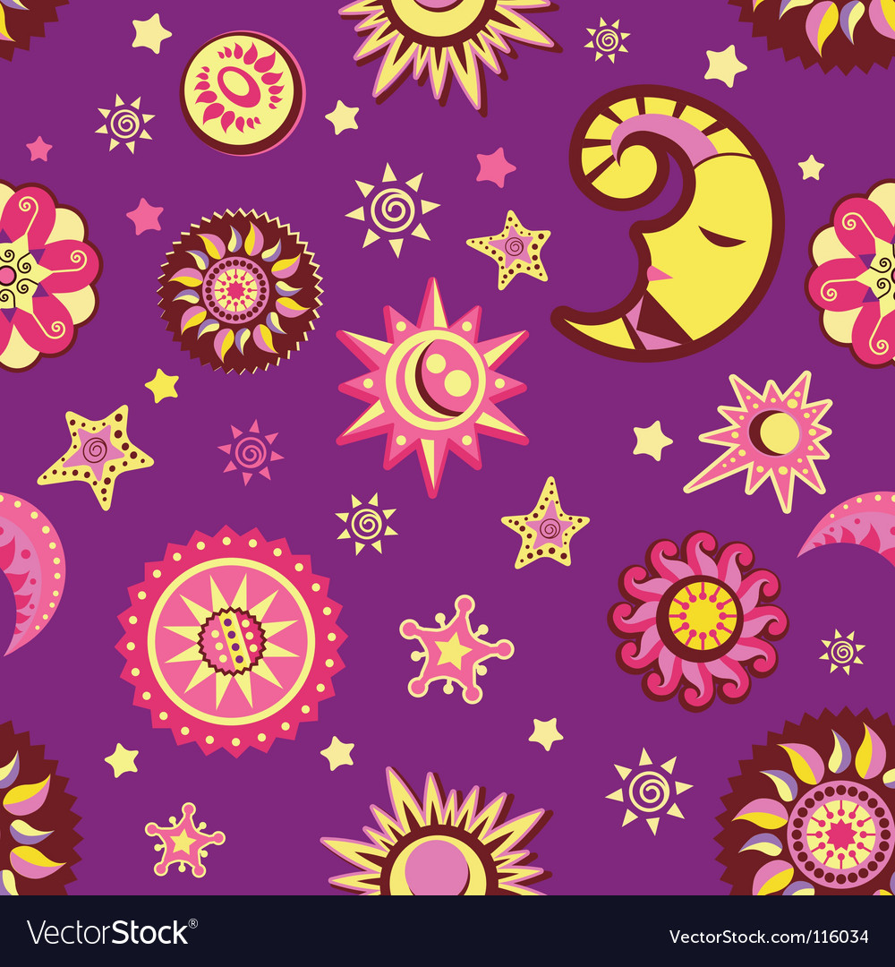 Sun and moon seamless pattern vector | Price: 1 Credit (USD $1)