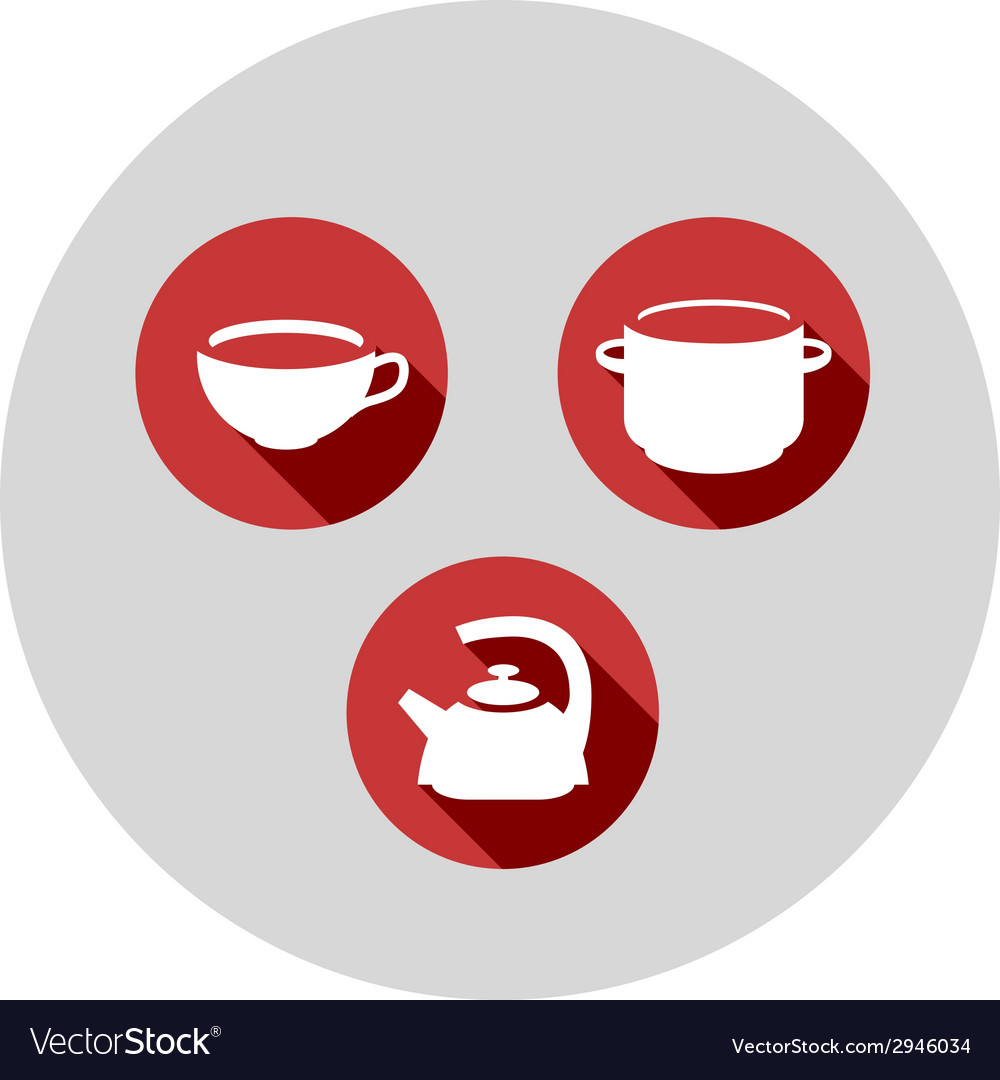 Three flat icons kitchen theme vector | Price: 1 Credit (USD $1)