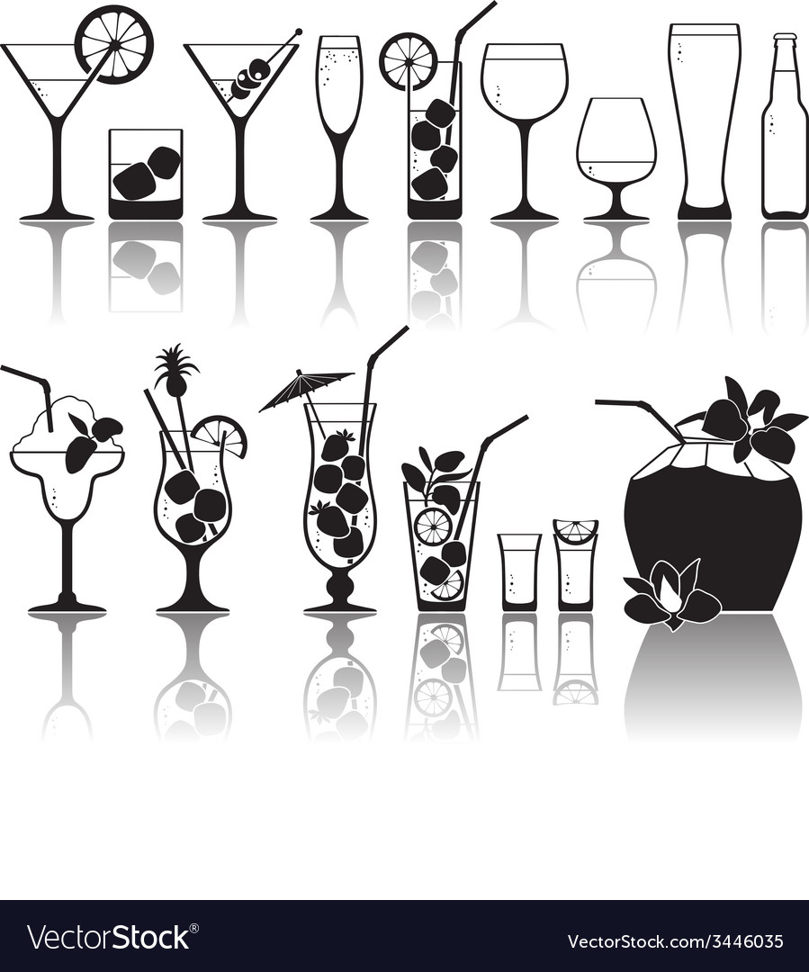 Different kinds of glasses with aperitifs juice vector   Price: 1 Credit (USD $1)