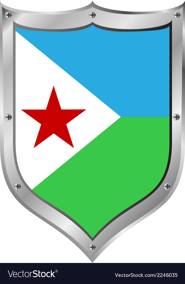 Djibouti flag button vector | Price: 1 Credit (USD $1)