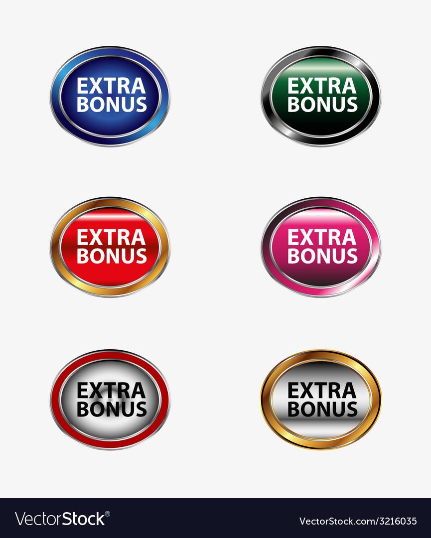 Extra bonus button set vector | Price: 1 Credit (USD $1)