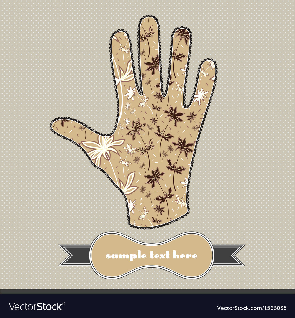 Floral composition on the handprint vector | Price: 1 Credit (USD $1)